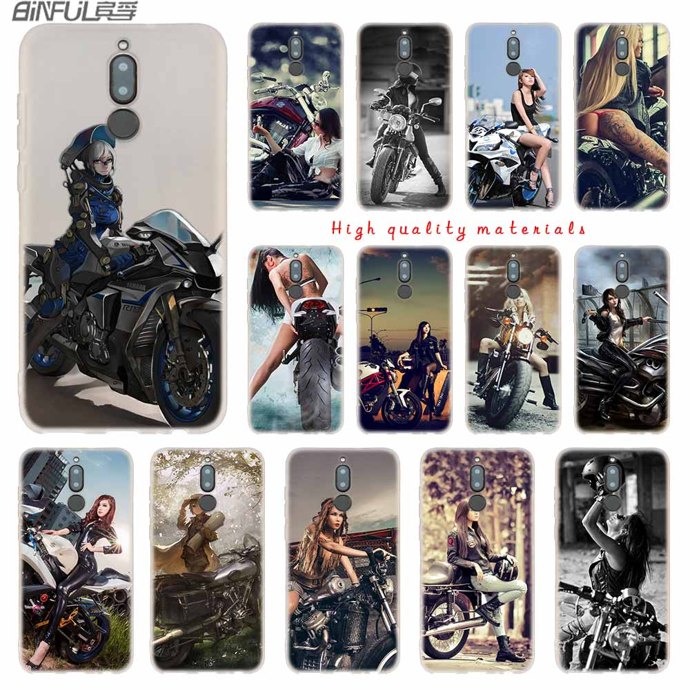 Motorcycle <font><b>girl</b></font> cover Soft Silicone <font><b>Cases</b></font> For <font><b>Huawei</b></font> Mate 10 Lite 10 20 Lite Pro 20X S Y5 2017 Y9 2018 <font><b>2019</b></font> NOVA 3 3i 4 <font><b>y7</b></font> image