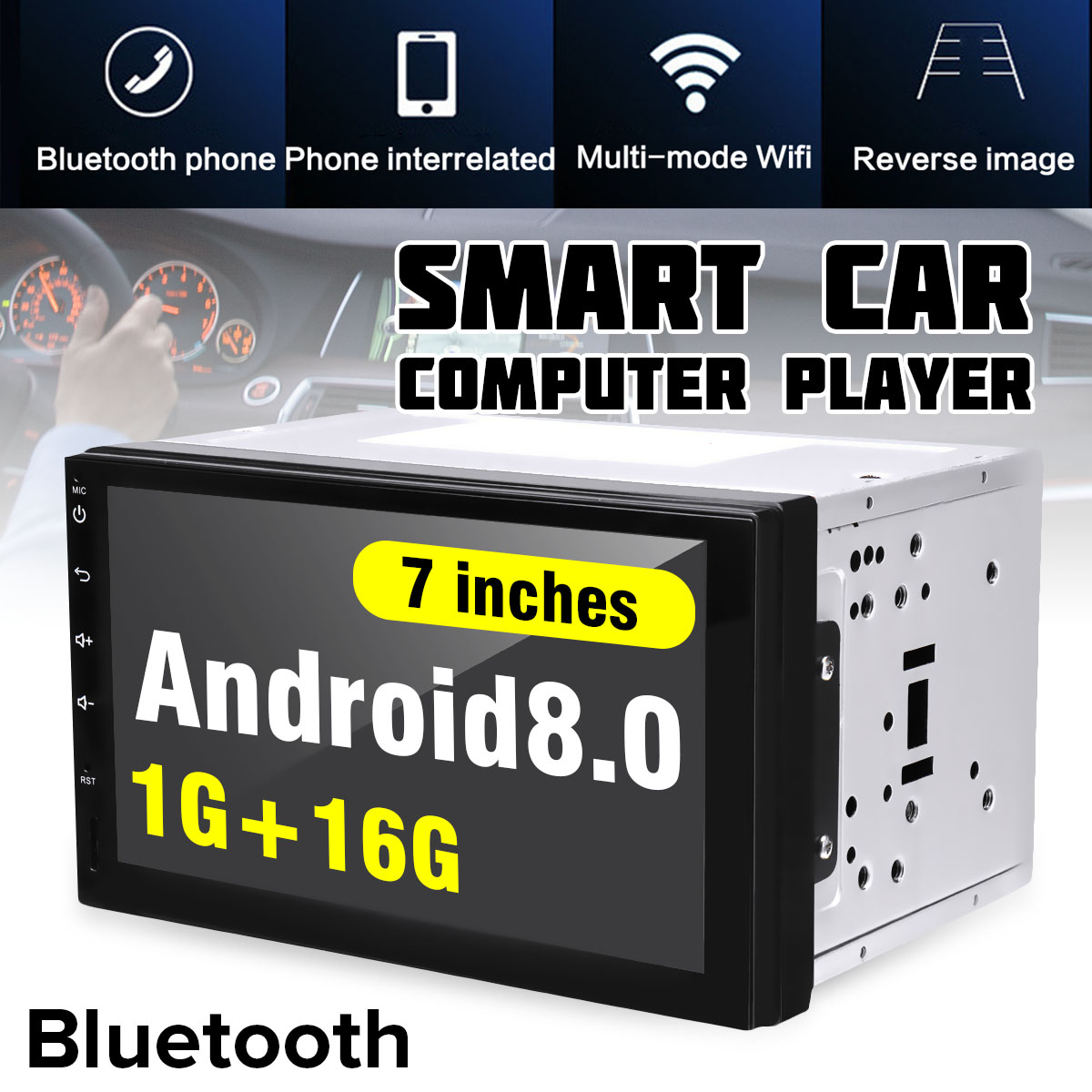 KROAK 7'' Car Radio Stereo Android 8.0 GPS Navigation + bluetooth USB SD 2 Din Car Reverse Image Audio Player Autoradio