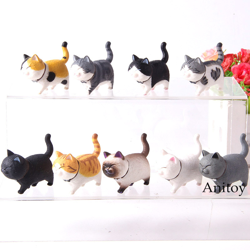 9pcs/set Cartoon Kawaii Cat Bells Neko Cats Animal Model Action Figure Collection Toy Doll9pcs/set Cartoon Kawaii Cat Bells Neko Cats Animal Model Action Figure Collection Toy Doll
