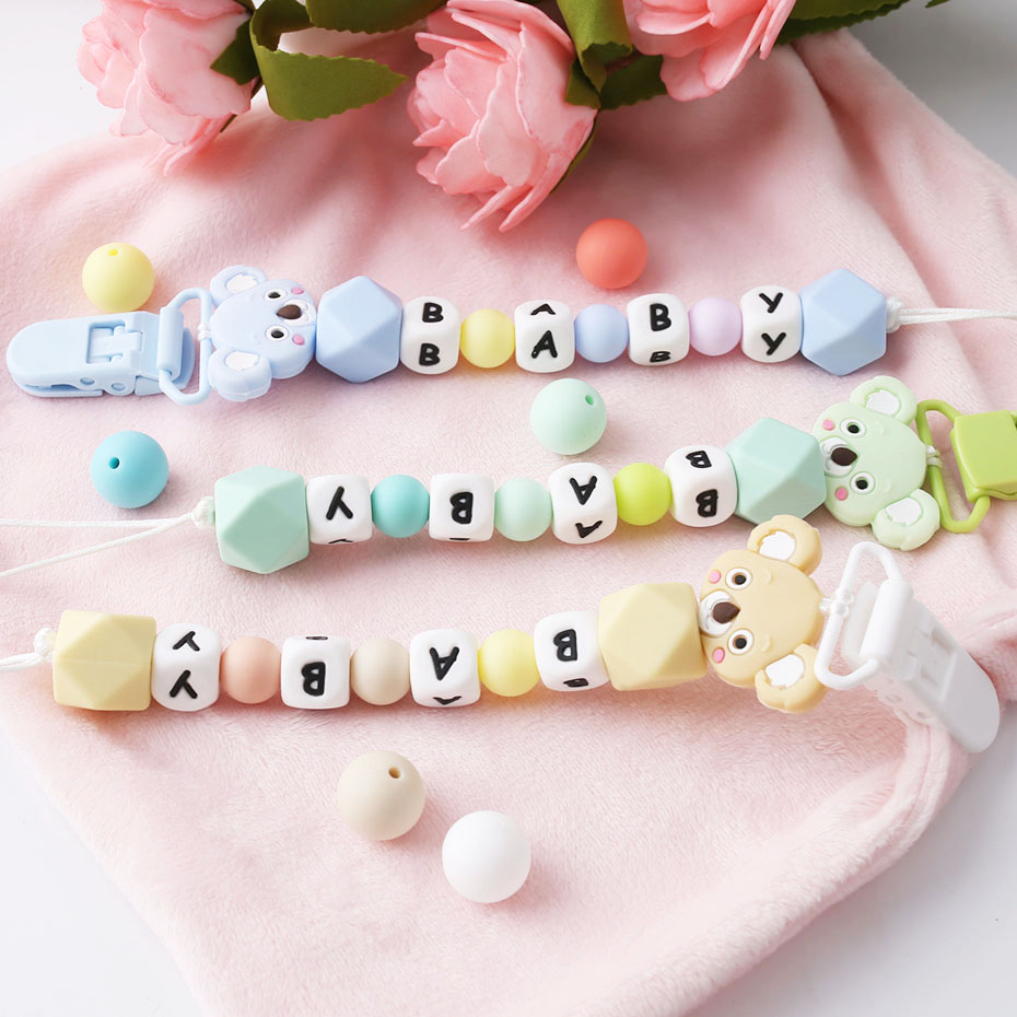 1Pc Silicone Teether Pacifier Chain Pendant  Personalized Name Koala Tiny Rod Silicone Beads Teething Holder For Nipples Toys