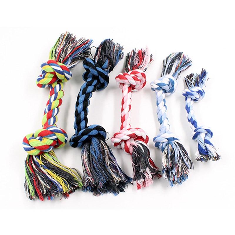 1pcs Pet Dog Puppy Double Cotton Chew knot toys pet supplies Clean teeth Durable Braided Bone Rope Random Color Pet molar toy