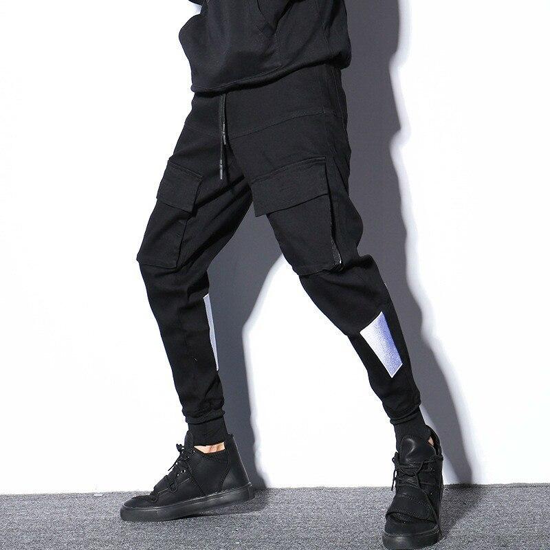 #2311 Mode Schwarz Cargo Hosen Männer Hip Hop Multi Taschen Schwarz Frühling Herbst Bleistift Harem Hosen Herren Japanischen Streetwear M-xxl