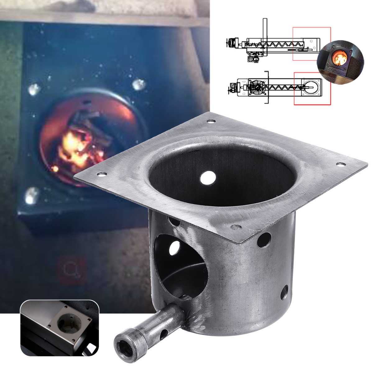 Pellet Stove Iron FirePot Burning Pot Fit For Traeger Grills Replacement Part Kit Fireplace Parts Camping BBQ Accessories