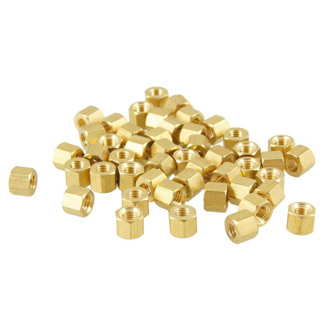 ELEG-50 Pcs <font><b>M3X4mm</b></font> Gold Tone Hexagonal Female Thread Standoff Spacers image