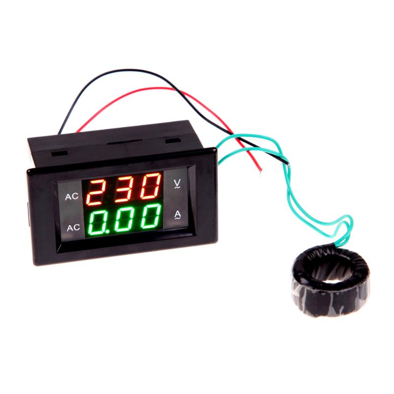 ALLOET AC Digital Ammeter Voltmeter Panel Amp Volt Voltage Current Meter Tester Double LED Panel 100A/300V AC Voltage Amp Meter