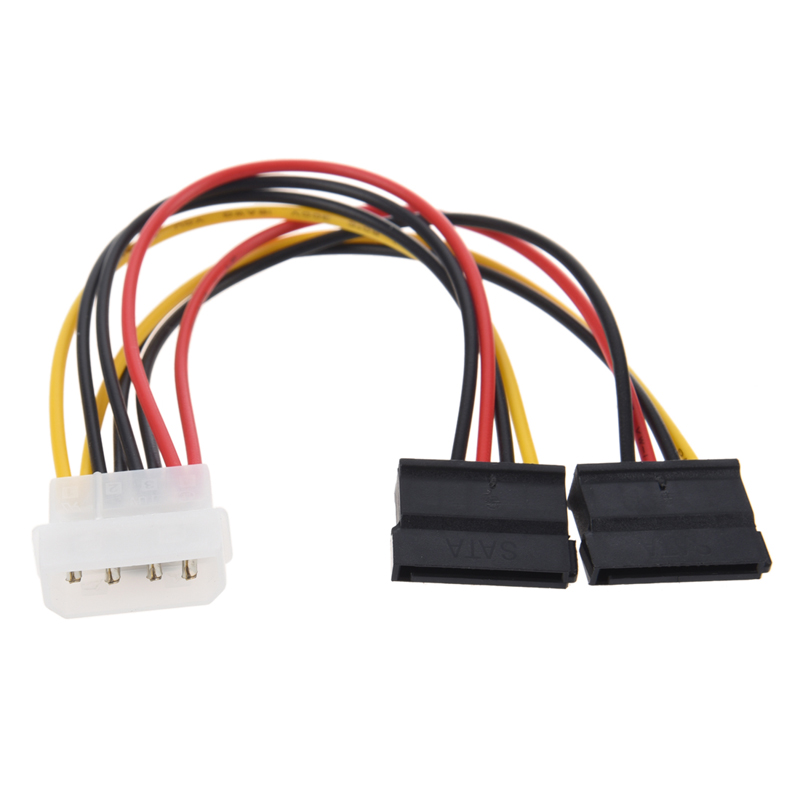 NEW IDE Molex Adapter Cable Cord 4Pin Male to 2 Serial ATA SATA Female Power