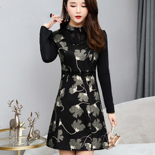 2019 New Arrival Women Sexy Stand Collar Full Sleeve Lace Patchwork A-Line Dresses Fashion Elegant Floral Print Mini Dress