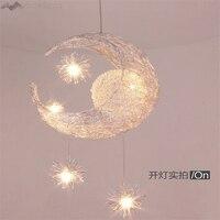 modern Novelty Kid Children Room Light with Modern Pendant Light Lamp for Home Bedroom Living Room Moon Star Wicker Lamp