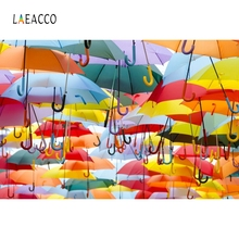 Laeacco Umbrella Colorful Fly Sky Backdrop Photography Backgrounds Customized Photographic Backdrops For Photo Studio