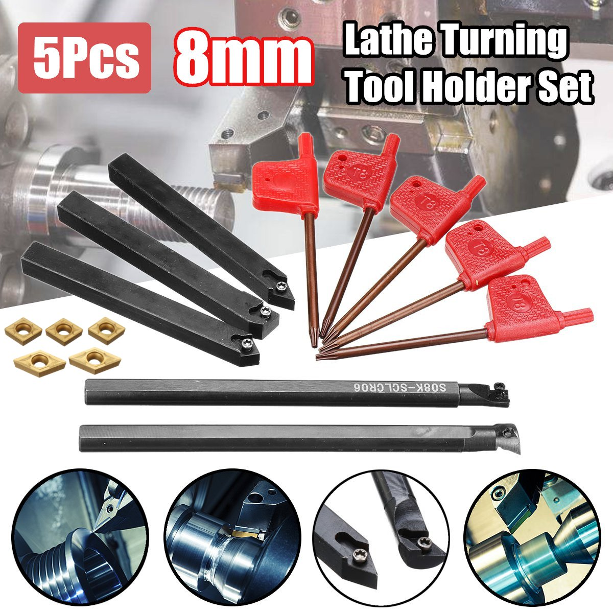 5pcs 8mm Shank Indexable Lathe Turning Tool Holder With CCMT060204 DCMT070204 Carbide Inserts For CNC Machine