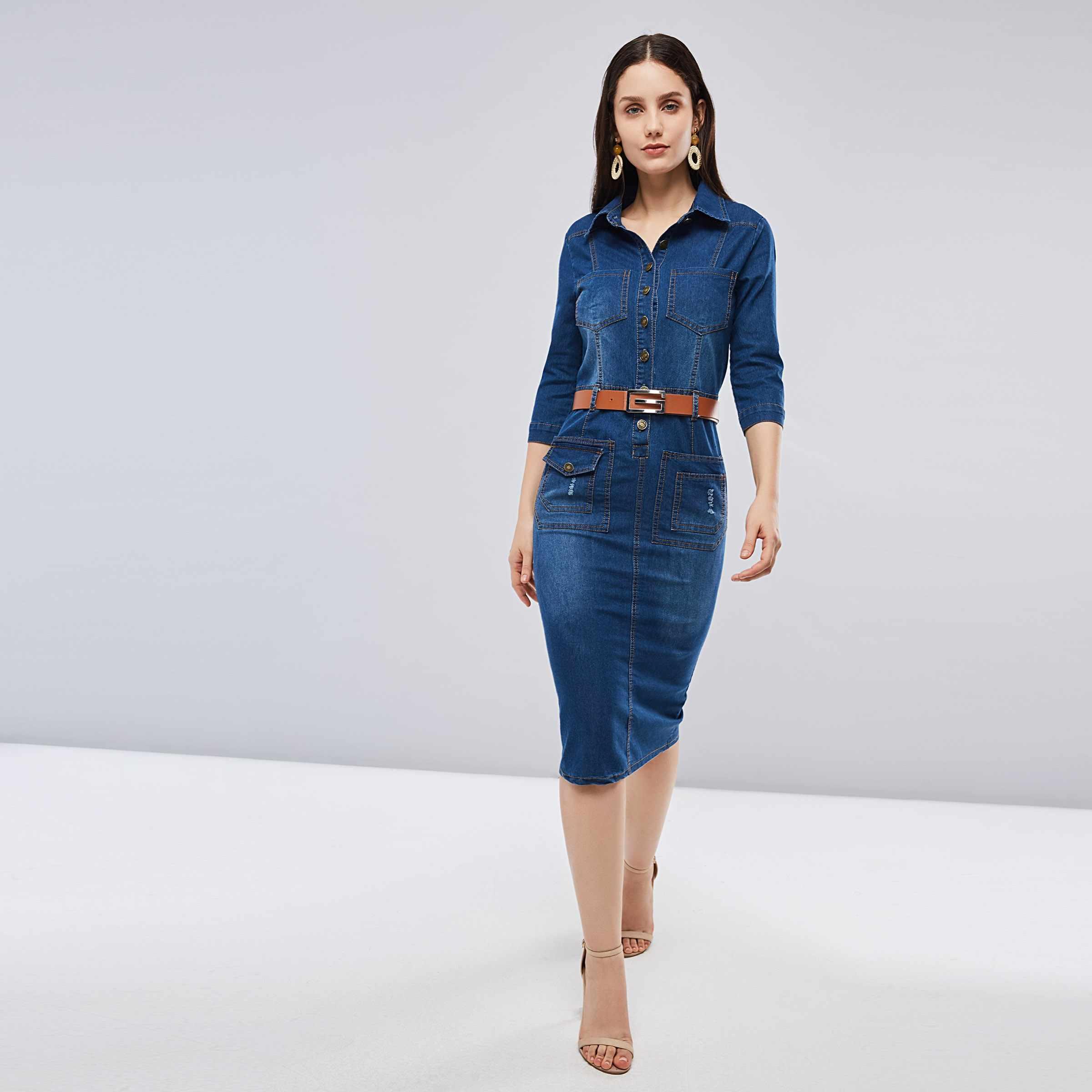 c8d6b7e0efd ... Sisjuly Women Spring Summer Dark Navy Blue Denim Shirt Dress Office  Lady Work Lapel Button Pocket ...