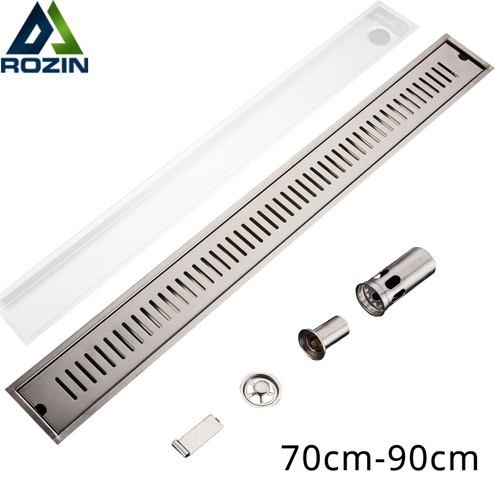 900mm Long Strip Floor Drain 304 Stainless Steel Odor-resistant Shower Drain Brushed Large Flow Linear Channel Floor Drain