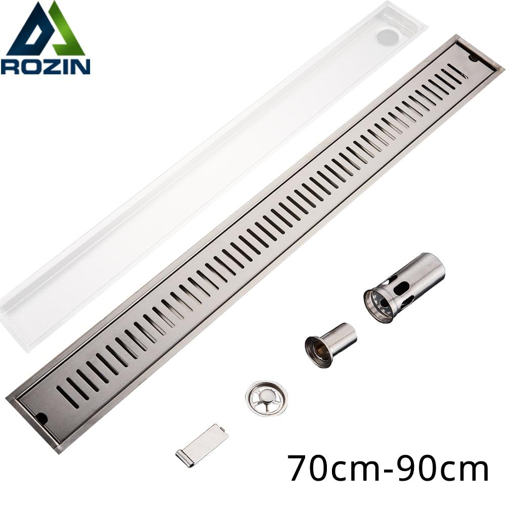 900mm Long Strip Floor Drain 304 Stainless Steel Odor-resistant Shower Drain Brushed Large Flow Linear Channel Floor Drain