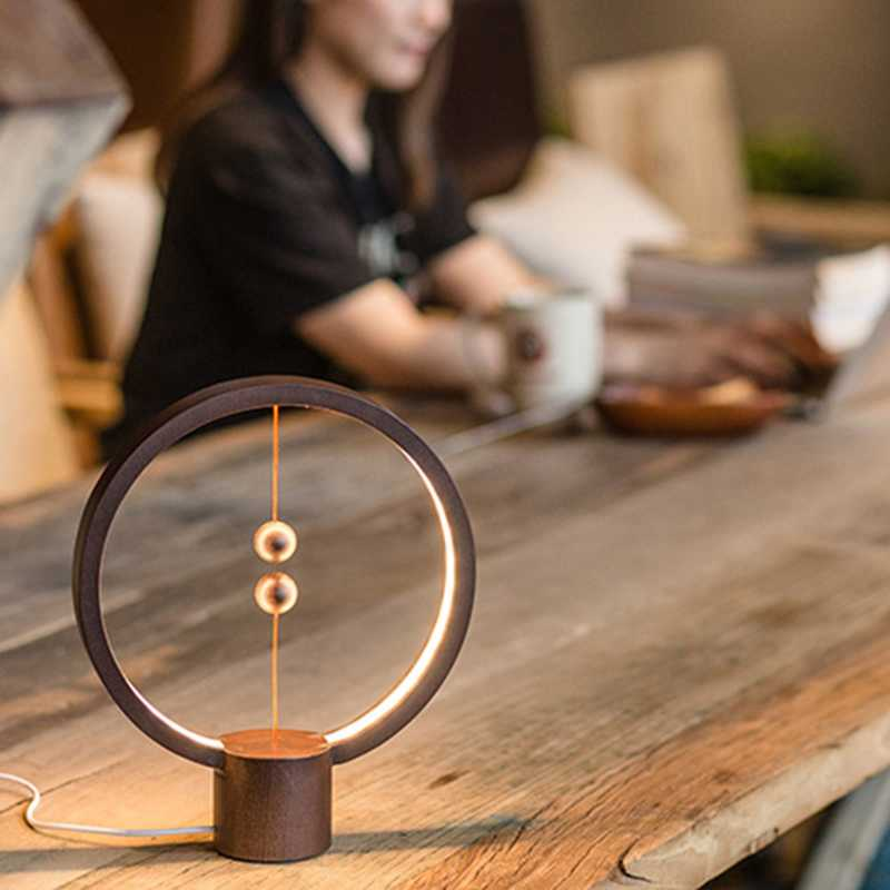 Heng Led Smart Balance Lamp Magnetic Suspension Creative Night Light Home Decoration Bedroom Bedside Reading Light Birthday Gi