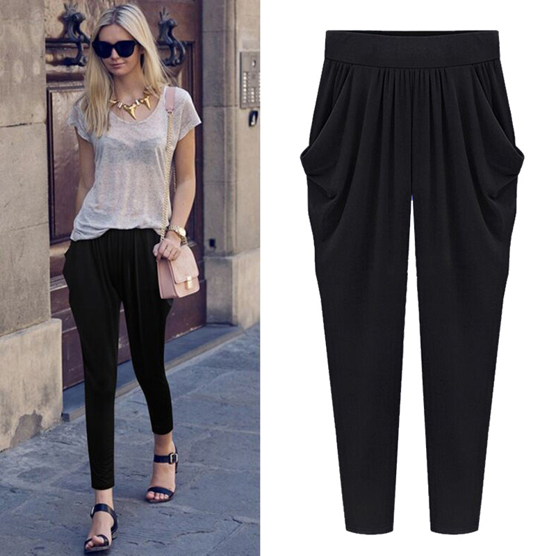 5XL 6XL Plus Size Cropped Pants Women 2019 Summer Casual Pleated Nine Trousers Solid Color Loose Strechy Elastic Harem Pants