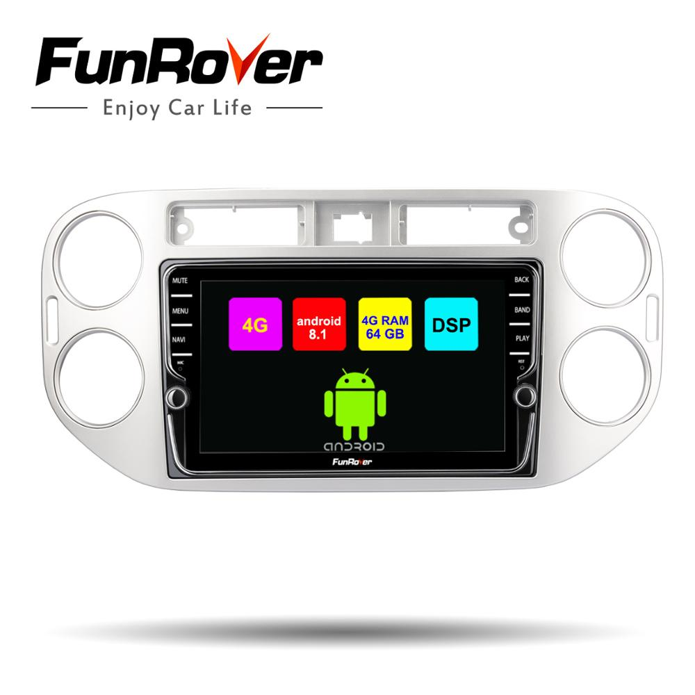 Lecteur vidéo multimédia Funrover 8 cœurs Android 8.1Car Radio pour Volkswagen Tiguan 2010 2011 2012 2013 2014 2015 2016 gps DSP