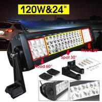 24 Inch 120W Auto Car LED Curved Work Light Bar 24LED Spot Flood Combo Offroad Driving Lamp Worklight for Off road Truck SUV