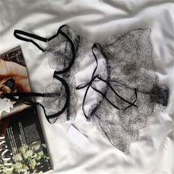 2 pcs Sexy  Women Black Lace Crochet Lingerie set Ladies Hollow Strappy Bra Perspective Panties Erotic hot Underwear Sleepwear 4