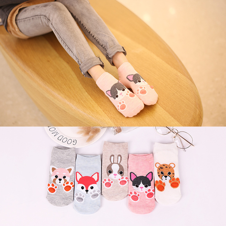 Colorful Animal Invisible Short Woman Sweat Summer Comfortable Cotton Girl Women's Boat Socks Ankle Low Female 1pair=2pcs Xg15