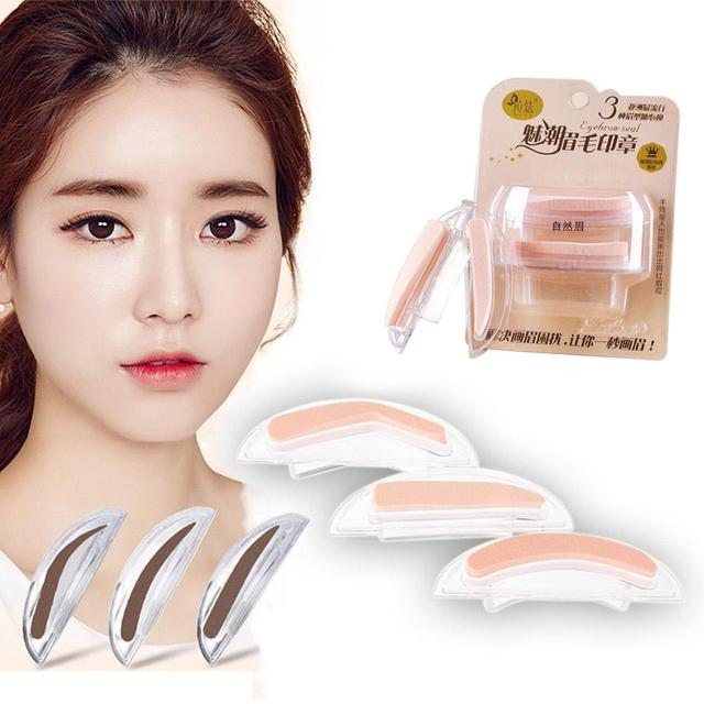BellyLady 2Pcs Fashion Sponge Eyebrow Stamps for Eye Makeup