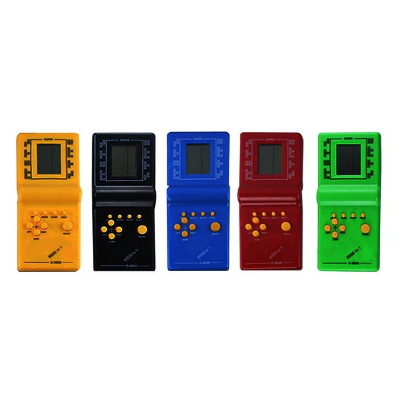 Retro Classic Electronic Tetris Puzzle Game Player Child Puzzle Toys Portable Mini Handheld Game Console Built-in 9 Games