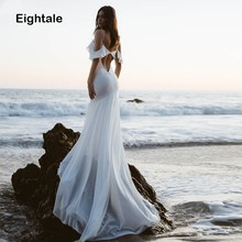 Eightale Beach Wedding Dress Spaghetti Strap Mermaid Bridal Dress Sexy White Ivory Chiffon Wedding Gowns  Vestido De Noiva New sexy spaghetti strap printed chiffon dress for women