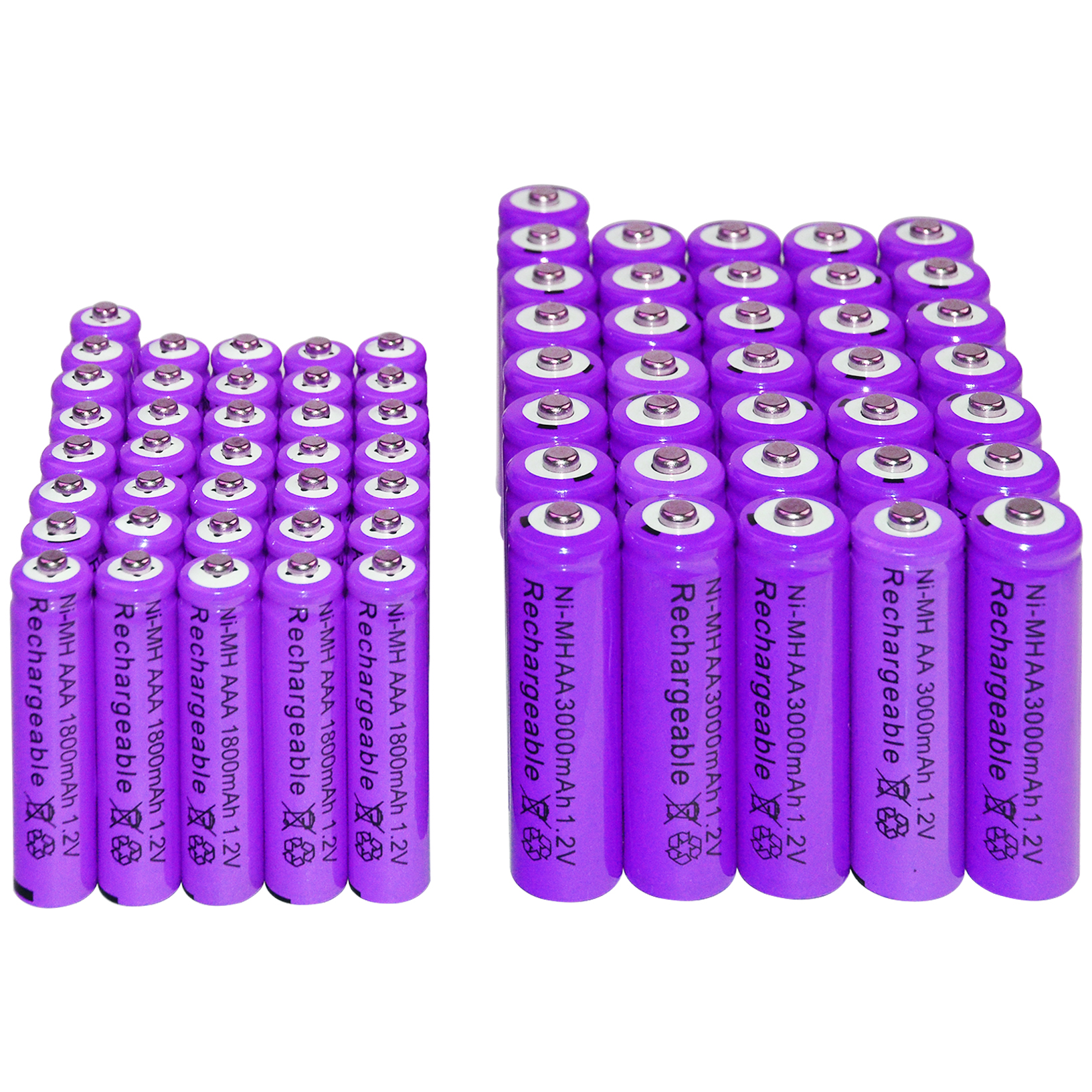 36x AAA 1800 mAh + 36x AA 3000 mAh 1.2 V NI-MH batterie Rechargeable piles pour jouets violet