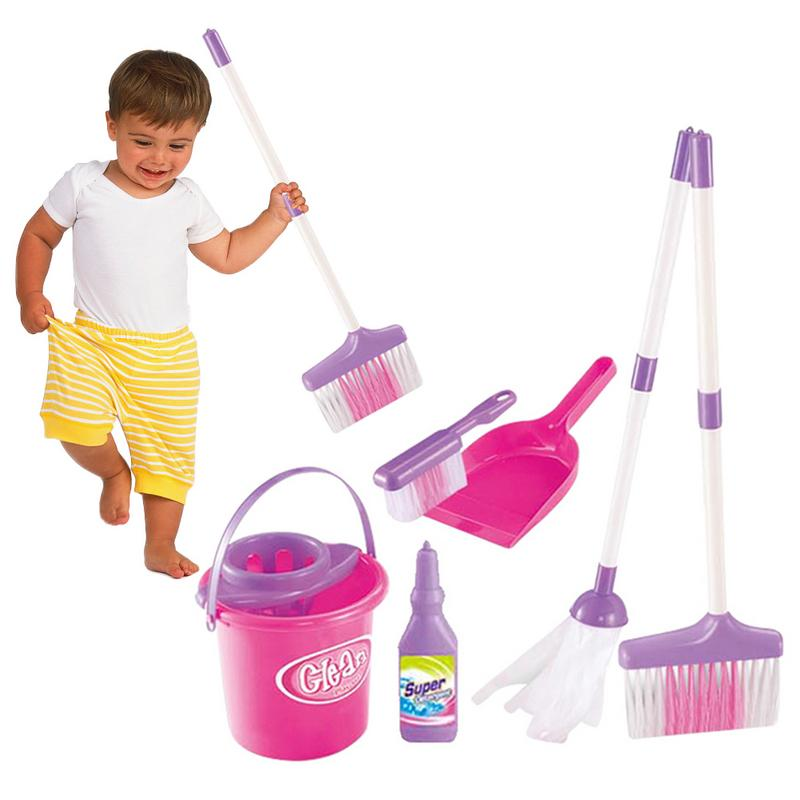 Pretend Mopping Bucket Toy Simulation Mini Cleaning Tool Playhouse Broom Mopping Bucket Toy Set For Children Trash Bins Tools