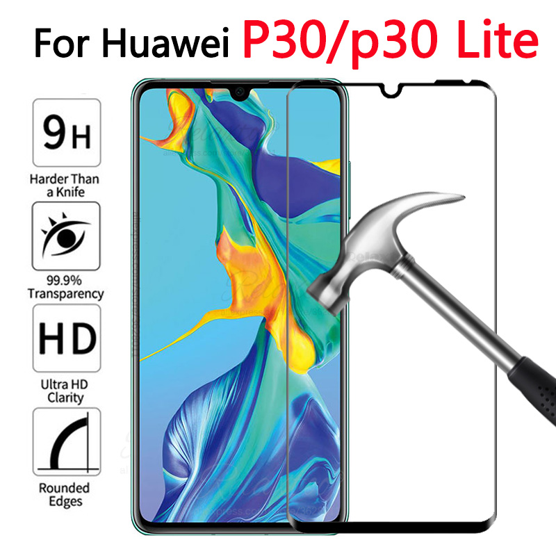 Full Coverage Tempered Protective Glass On For Huawei P30 Lite Screen Protector Glas For Huawei Huawey P 30 Lite Light Film 9h