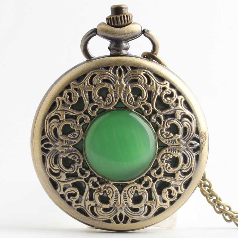 Pocket & Fob Watches Imitation Jade Stone Bronze Hollow Decorated Green Quartz Pocket Watch Men/Women Necklace Chian Pendants