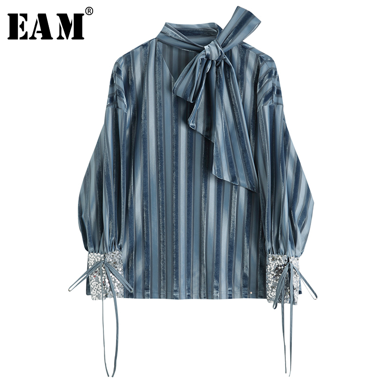 [EAM] 2020 New Spring Autumn Stand Collar Long Sleeve Blue Striped Holow Out Sequins Shirt Women Blouse Fashion Tide JR668