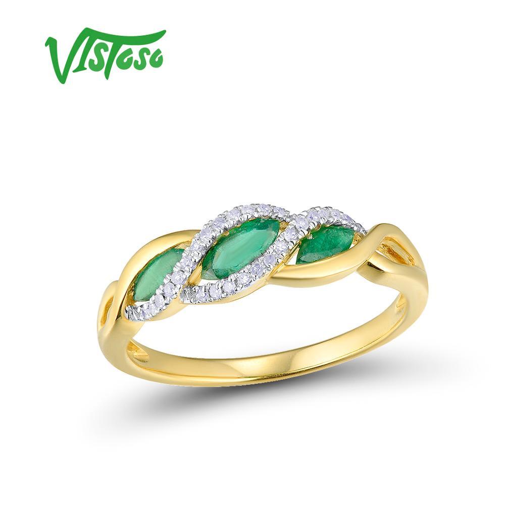 VISTOSO Oro Anelli Per Le Donne Genuino 14K 585 Oro Giallo Scintillante Anello di Diamanti Magia Smeraldo Anelli di Fidanzamento Gioielleria Raffinata