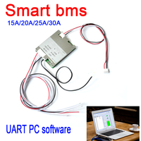 DYKB smart 4S 12V 14.8V Li-ion LifePO4 BMS Lithium battery protection Board 15A 20A 25A 30A UART software PC monitor BMS System