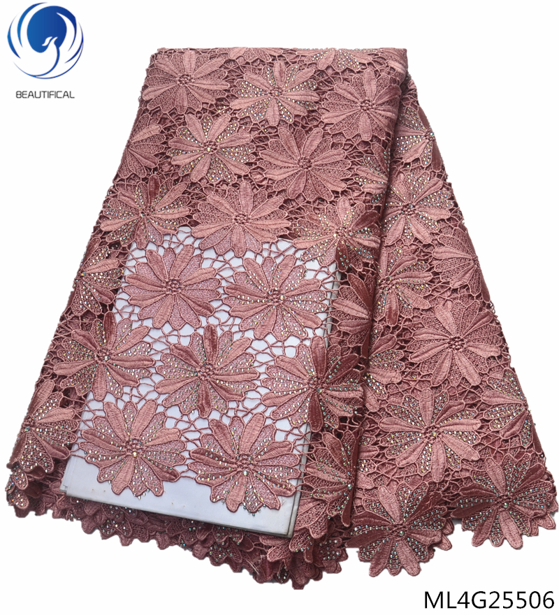 Beautifical african lace fabric guipure lace fabric 5yards wholesale beaded stones cord lace african dress fabrics ML4G255