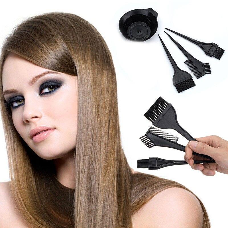 4Pcs/Set Hair Dye Brush Comb Black Plastic Mixing Bowl Barber Salon Hairdressing Hair Coloring Kits Pro Styling Tools