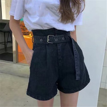 2019 Summer Women High Waist Denim Shorts Streetwear Vintage Cotton Shorts Belted Sexy Female Jeans Shorts o ring detail self belted shorts