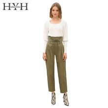 HYH Haoyihui Sweet Girls Pure Color Sweater Retro Square Neck Loose Cuffs Tighten Slim Knit Clear White Brown Women Tops