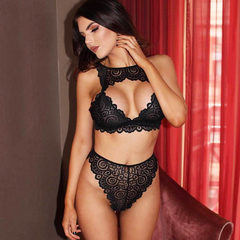 New Sexy   Bra     Set   Women Floral Lace Transparent Push Up Halter Lingerie Bralette Wire Free Breathable Hollow Out Underwear