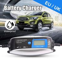 New Safe 6V 12V 0.8A 4A Car Battery Charger Fully Intelligent Repair Lead Acid Storage Charger Moto Intelligent LCD Display