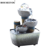 Creative Feng Shui Resin Fountain Ornaments Waterfall Landscape Display Flowing Water Home Office Desktop Decoration Crafts