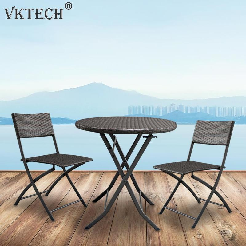 3pcs/set Foldable Furniture Kit Brown Gradient Rattan Outdoor Garden Coffee Table + 2 Chairs Bar Cafe Chair Set3pcs/set Foldable Furniture Kit Brown Gradient Rattan Outdoor Garden Coffee Table + 2 Chairs Bar Cafe Chair Set
