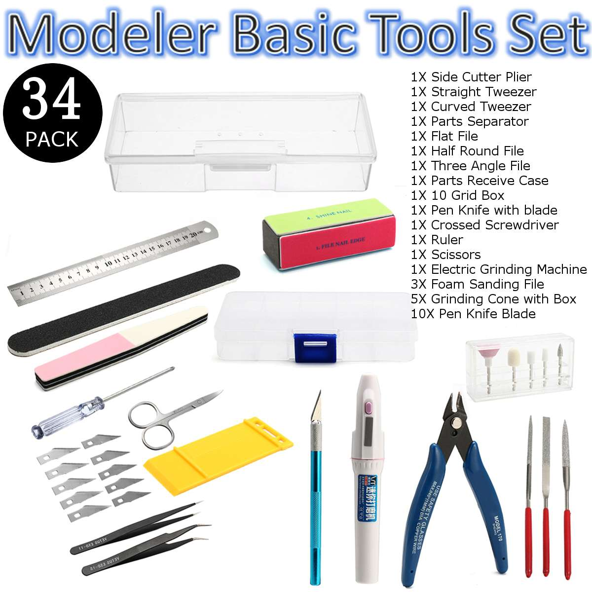 Upgrade Tools Set  Military Gundam Assembly Model Basic Tool Kits Electric Grinding Machine City Building Model Tool Kits