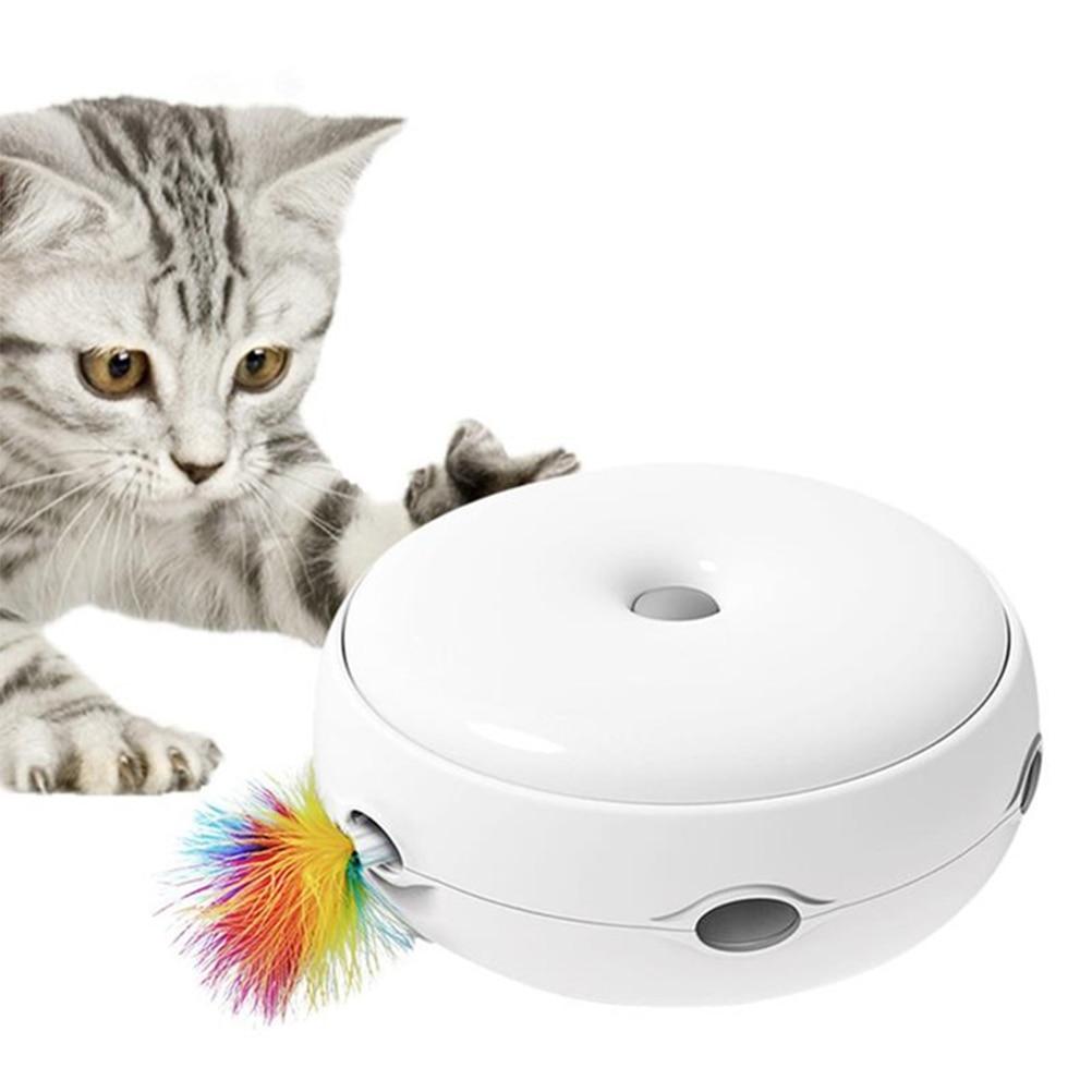 Jouet pour chat électrique bâton de chat taquin intelligent jeu fou tourne-disque tourne-disque chat attraper souris Donut tourne-disque automatique chat jouet cadeau