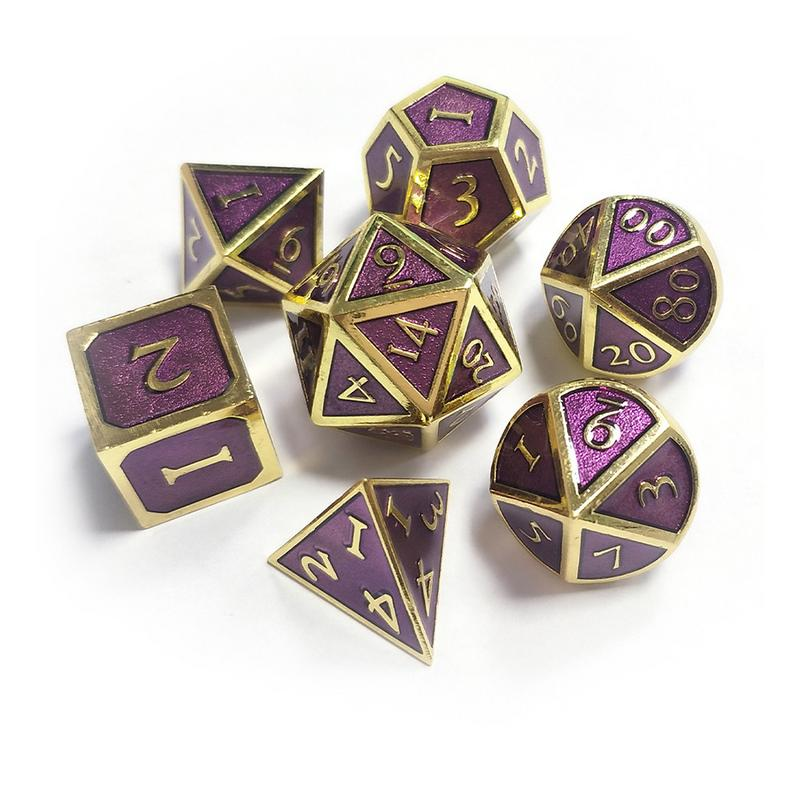 7pcs Metal Dice Dnd Dices Set Rpg Polyhedral Solid Dungeons And Dragon Table Games Metal Green Digital D&D Dice