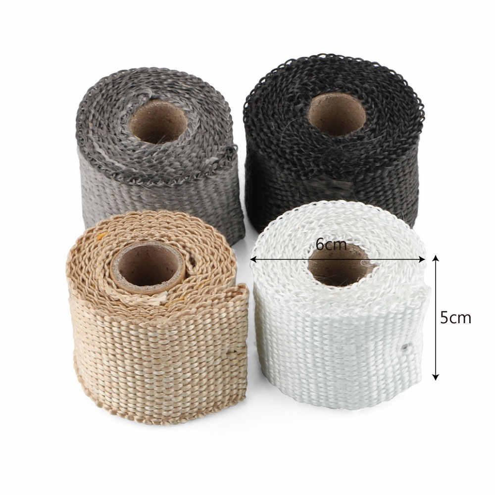 断熱ラップ絶縁テープ耐ホットガラス繊維排気ヘッダモト管テープ 50 ミリメートル × 1.5 メートルオートバイアクセサリー