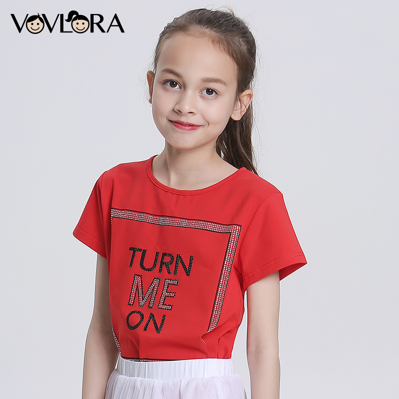 Cotton Print Letter Summer Girls T Shirt Tops Knitted O Neck Solid Kids T Shirts 2018 Children Tees Size 9 10 11 12 13 14 Years crew neck camo print tees in army green