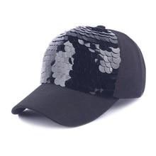 New Fashion black Snapback Baseball Cap cotton Gorras Caps Hats Woman Sequin Hip Hop Hats For Men Women все цены