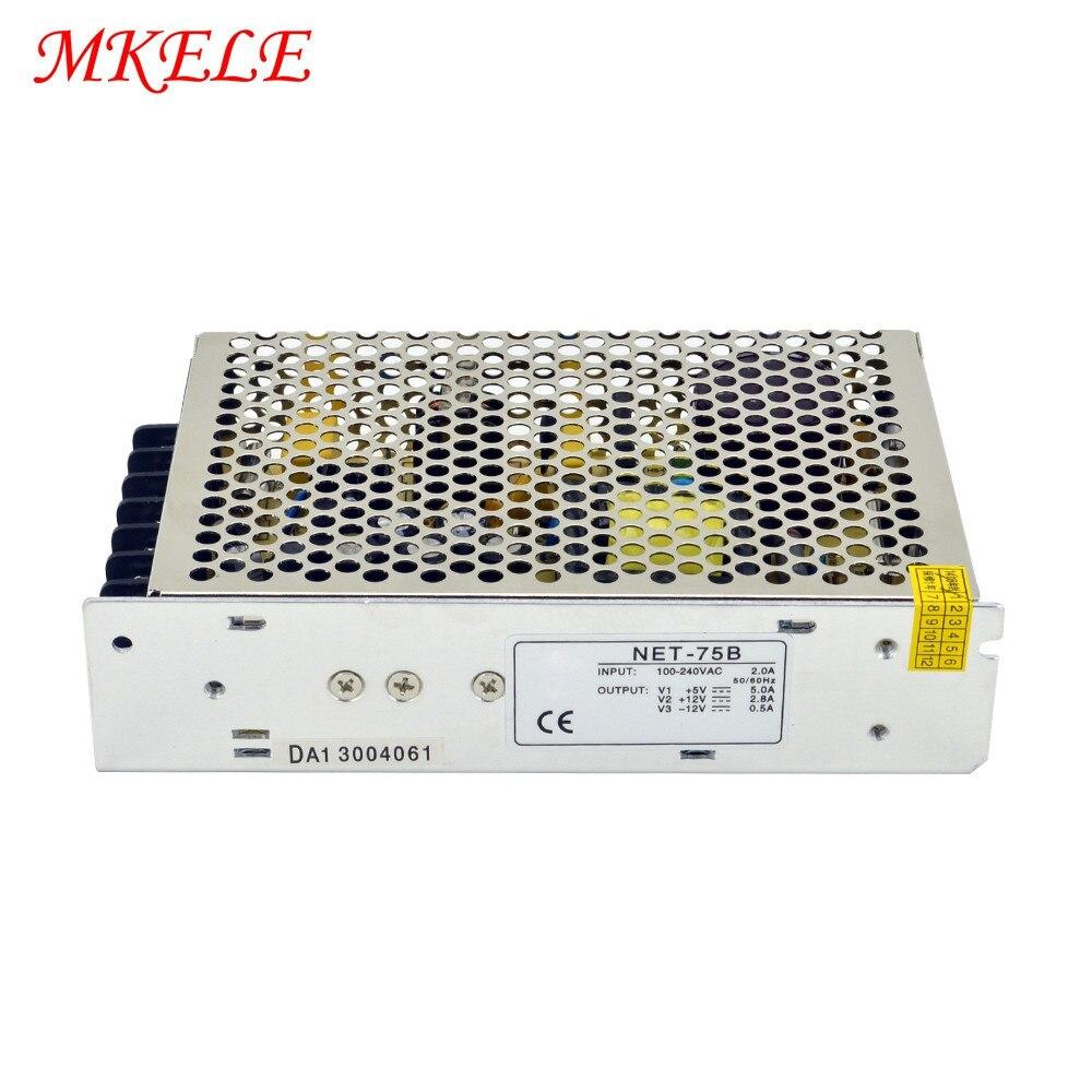 LED Strip CNC 3D Print Small Volume Triple Output Switching Power Supply 75W Net 75b 5V 12V 12V