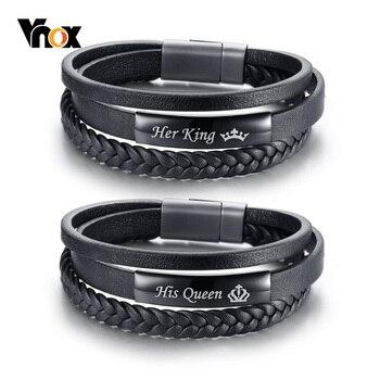 1c9a14b7a0cc Vnox su Reina y a su rey pulseras de pareja de trenzado negro de cuero  genuino prometo amor pulseira regalos