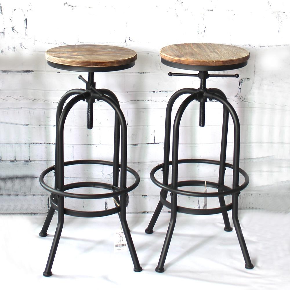 iKayaa bar Chairs Industrial Style Height Adjustable Swivel Bar Stool Natural Pinewood Top Kitchen Dining Breakfast